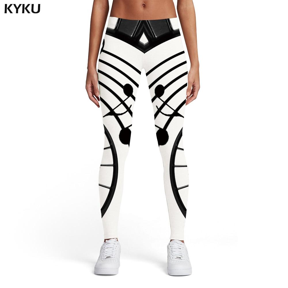 KYKU Music Leggings Women Musical Notes Elastic Black And White Spandex Gothic Leggins Ink Sport Womens Leggings Pants Jeggings