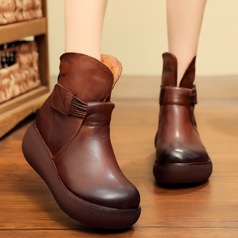 Cuero Plataforma Botas Retro Zxryxgs marrón 2018 Para Invierno Hecho Aumento Negro Otoño Mujeres Las Marca De Mano A Mujer La Zapatos Genuino 5X0TqpxTw