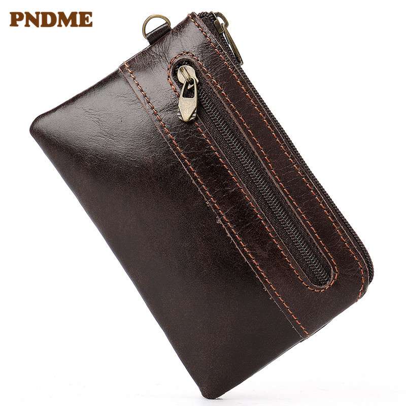 PNDME First layer cowhide card holder wallet casual simple retro zipper Coin Purses ID Holders for Men and Women in Card ID Holders from Luggage Bags