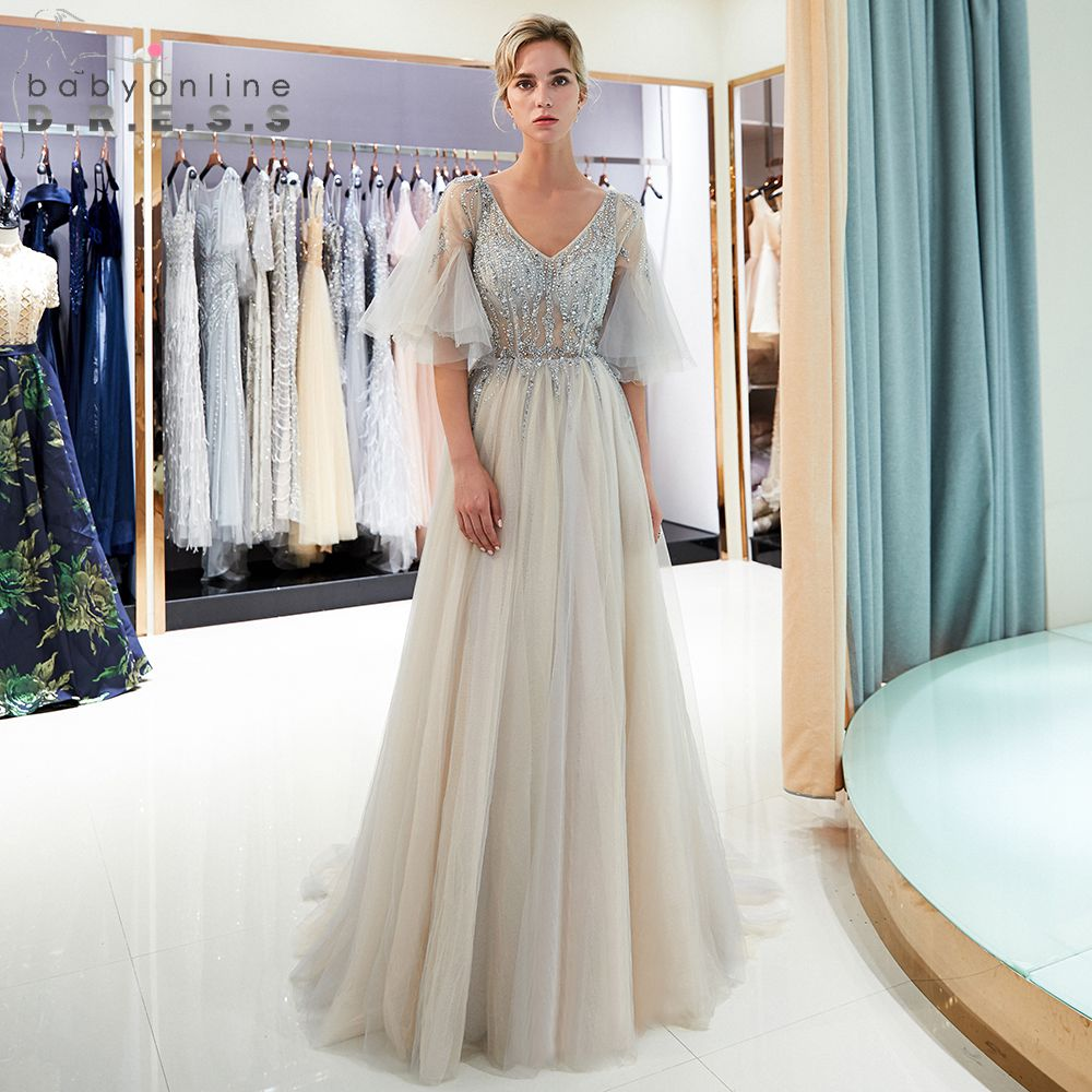 Elegant Slit Beading A Line V Neck Champagne   Evening     Dresses   Long 2019 Formal Prom Party Gowns Robe de soiree