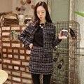 Осень женская мода костюмы новый небольшой ароматный ветер твид плед куртка Один шаг юбка костюм мода пальто юбки 2 шт. наборы