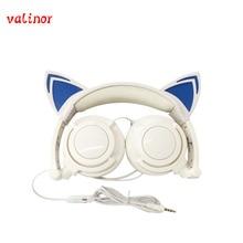 Envío gratis Original wired diadema auricular auriculares del oído de gato plegado LLEVÓ auriculares ligeros adecuado para regalo de vacaciones o de gala