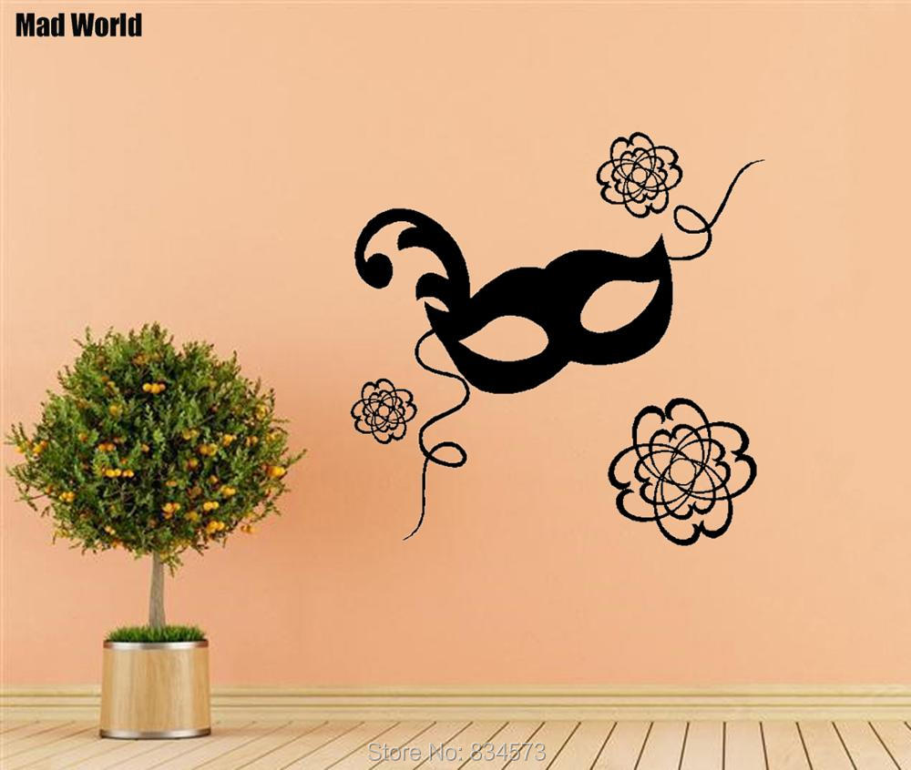 Mad World Modern Masquerade Ball Mask Flower Wall Art Stickers Wall ...