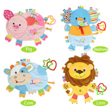 Baby Plush Doll Appease Towel Soft Cattle Pig Lion Elephant Toy Infant Puppet With Rubber Ring Kids Boy Girl Gift