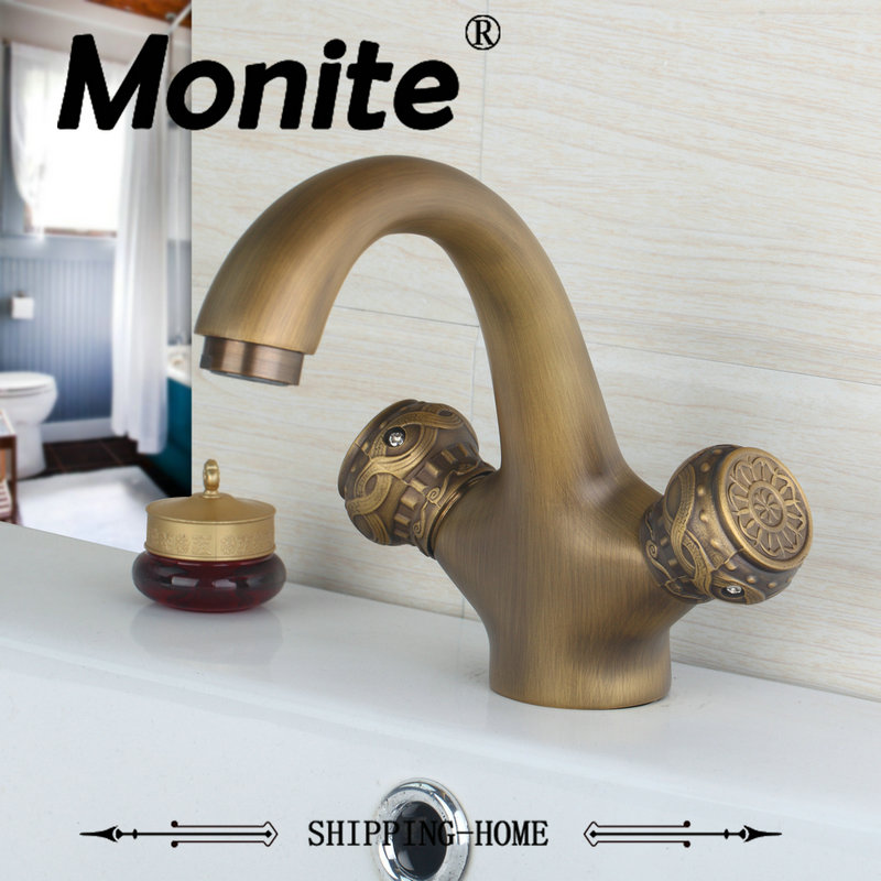 Lurxruy Bathroom Faucet Wash Basin Faucet Antique Brass Double Handles Deck Mounted Tap Sink Torneira Mixer Faucet photo frame removeable decorative background wall sticker