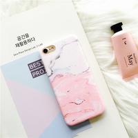 New Matte Granite Lovely Pink Patchwork Color Marble Phone Cases For IPhone 7 7Plus 6 6s