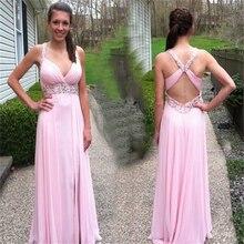 Sexy Deep V-Neck Backless Prom Dress 2016 Vestido De Festa De Casamento Cheap Pink Chiffon Dress Evening Dresses