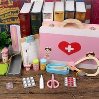High quality Wooden Doctor Play sets Simulation Medicine Box Pretent Stethoscope Injections Toys for Children Birthday gifts