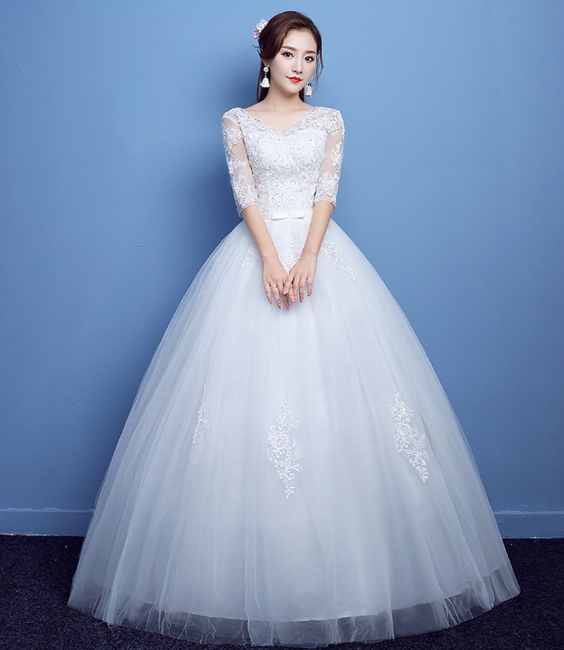 Luxury Wedding Dress New Plus Size Bride Lace Up Ball Gowns Wedding Dresses Shoulder Sleeves Princess Dress