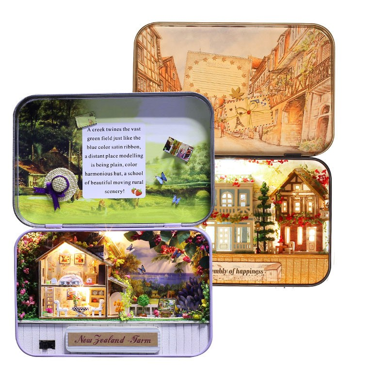 iie create T-006 Happiness T-007 New Zealand Farm DIY Tin Box Secret Dollhouse Miniature Gift For Children Friends