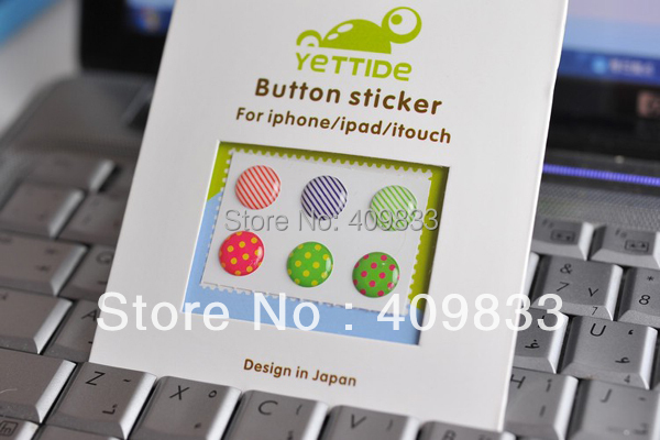 Free shipping 50 sets(6 pcs/set) home button sticker for Iphone home button