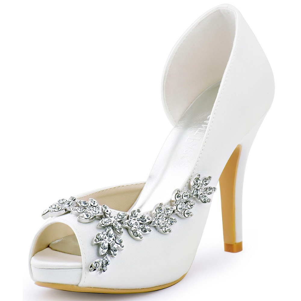 HP1560IAC White Ivory Women Bride Bridesmaids Peep Toe Crystal Heel Prom Pumps D