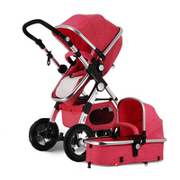 EUBaby Stroller 3 in 1 with Car Seat For Newborn High View Pram Folding Baby Carriage Travel System