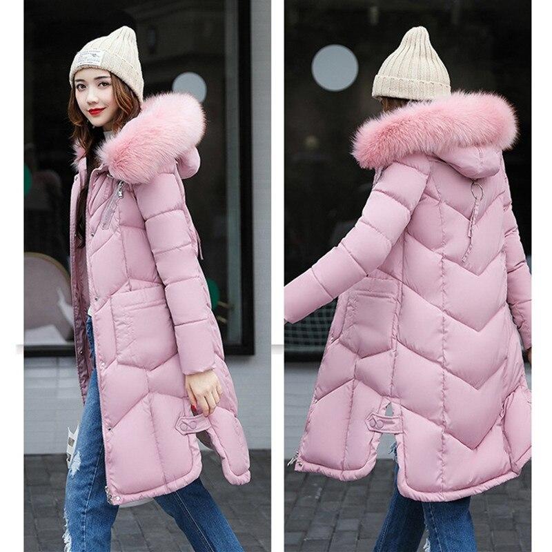 black Abrigos Piel Con Invierno Tamaño Capucha Moda 2018 Parkas Yagenz Coat  Red Cuello gray Abajo Más Largos Mujeres pink Algodón Jacket430 armygreen  ... 8e80f0a3b512