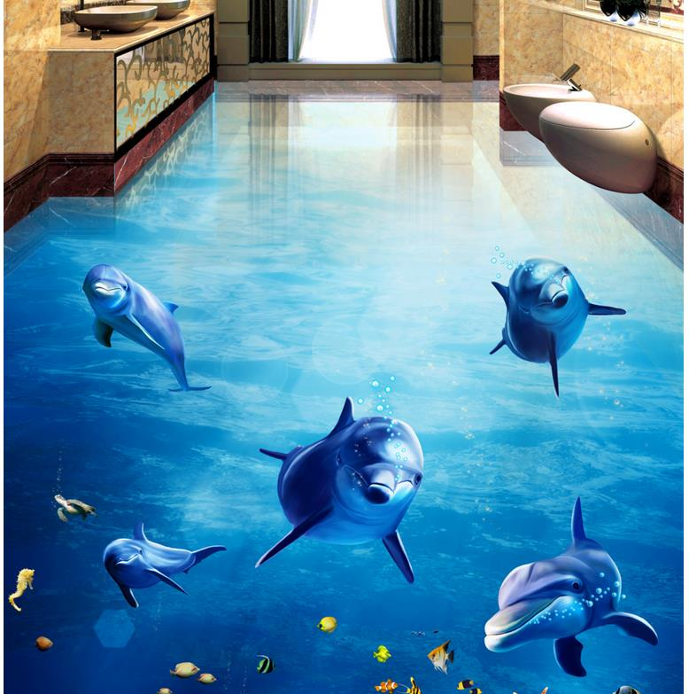 Custom Any Size 3D Curtain Blackout Shade Window Curtains Dolphins Dance Underwater World 3D Bathroom Living Room Floor Painting grommets ring roller blackout curtain