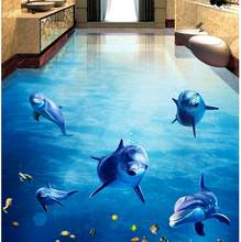Custom Any Size 3D Curtain Blackout Shade Window Curtains Dolphins Dance Underwater World 3D Bathroom Living Room Floor Painting(China)