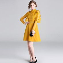 PADEGAO Women Dresses Elegant Hollow Lace Flower Waist Slimming Hedging Dress A-Shaped High-Quality Fashionable 2019 New