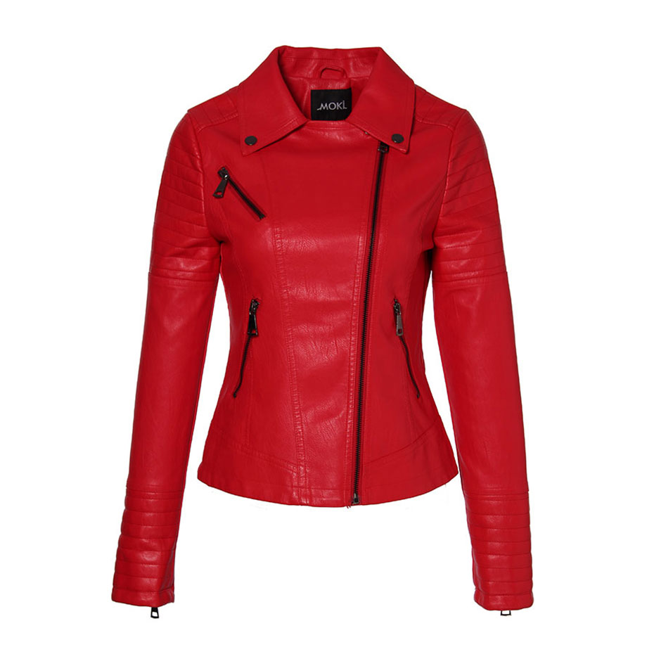 AORRYVLA 2019 New Spring   Leather   Jacket Women PU Jacket Full Sleeve Short Length Zipper Biker Ladies   leather   jacket Top Quality