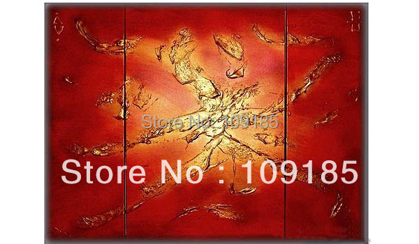 Free Shipping 100% Handmade Red Art Idea Three Panels Group Painting