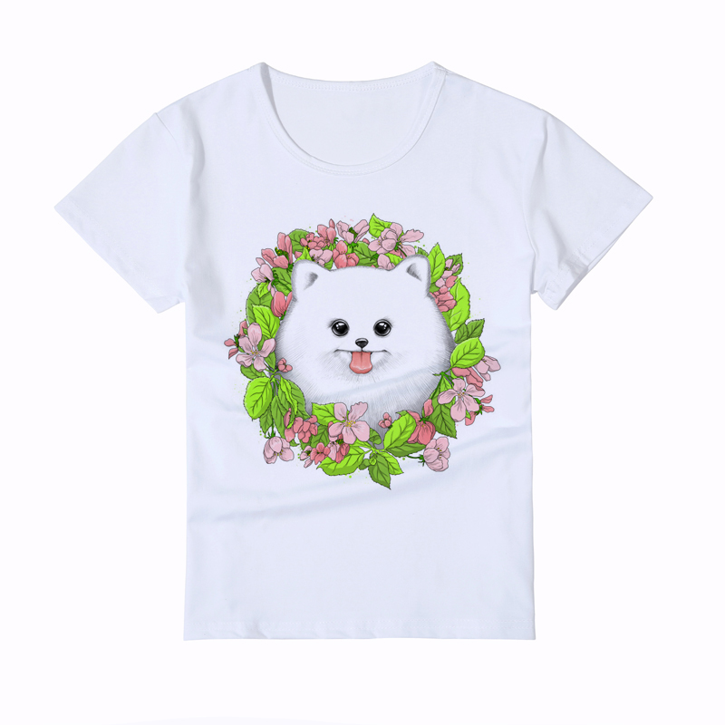 Cute Pomeranian dog print childrens T-shirt Novelty Harajuku Design Girl t shirt baby animal T-Shirt Hipster boyTop Tee Y6-32