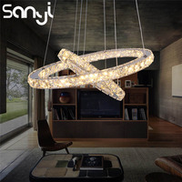 SANYI Modern LED Crystal Chandelier and Pendants for Living Dining Room Circles Hanging Lighting Lamp Home Decoration Light Fixt