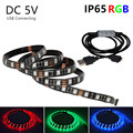 USB 5050 RGB LED Strip Waterproof DC5V 2M 1M Fita LED Light Flexible Neon Bande Tira LED Diode Tape For TV Background Lighting