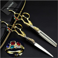 6inch Gold Dragon Handle Professional Creative Straight Thinning Hair Cut Scissor Hairdressing Style Barber Supply Grooming