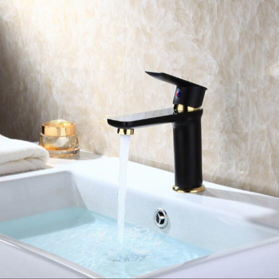 new arrival high quality brass material single lever black and gold plating  bathroom high sink tap basin faucet free shipping new design high quality brass material single lever basin faucet