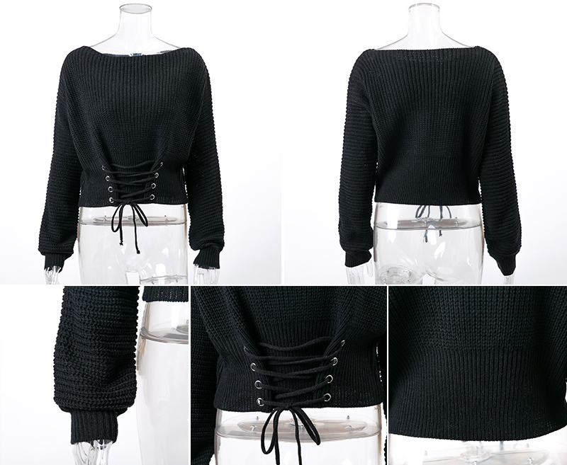 NLW Lace Up Crop Casual Women Sweater 19 Autumn Winter Knitted Pullovers Long Sleeve O Neck Loose Jumper Top Bandage Sweater 19