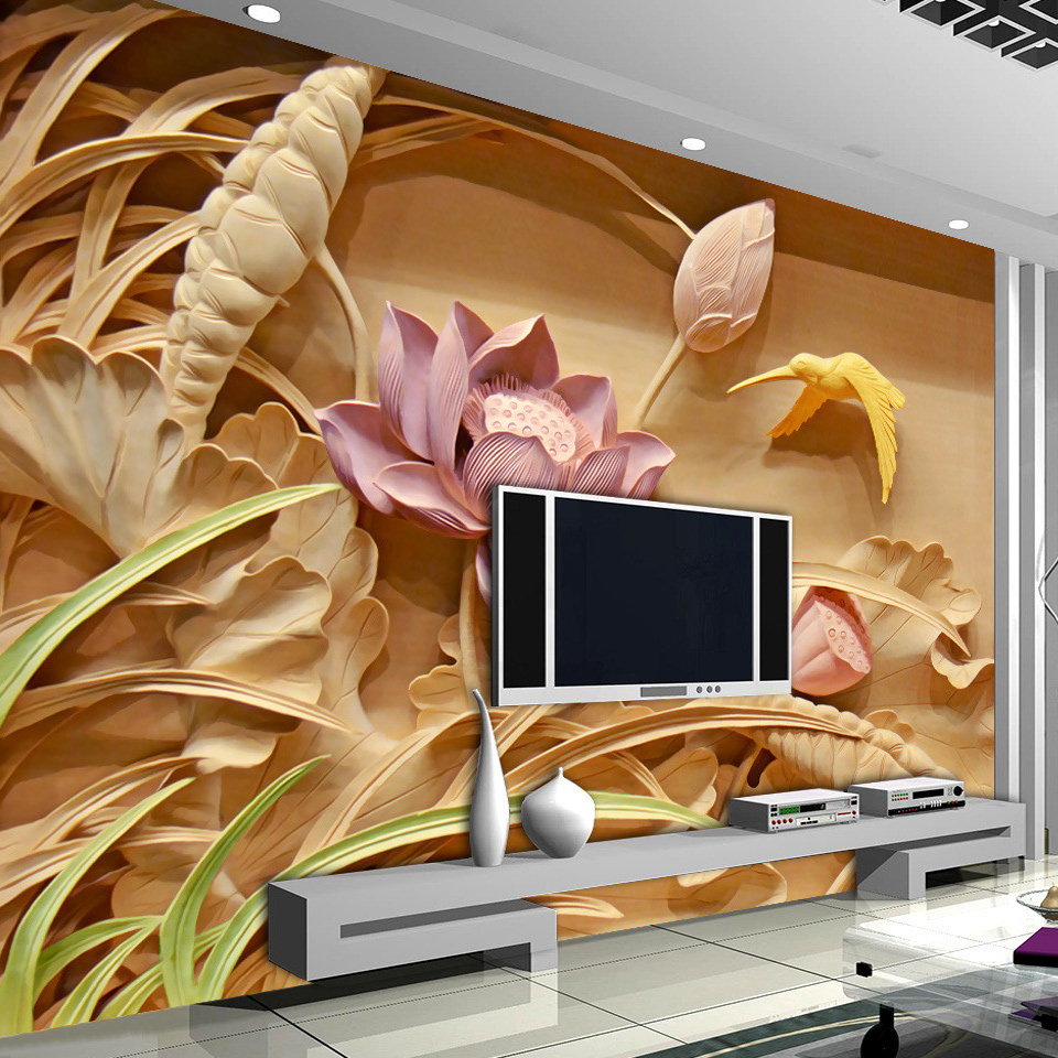 custom 3d printing imitation wood carving lotus mural chinese style 3d large murals living room. Black Bedroom Furniture Sets. Home Design Ideas