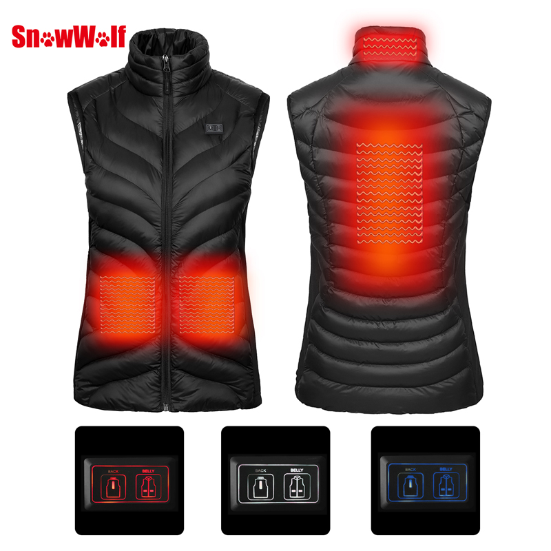 SNOWWOLF 2018 Upgraded Women Outdoor USB Infrared Heating Vest Jacket Winter Flexible Electric Thermal Clothing Waistcoat