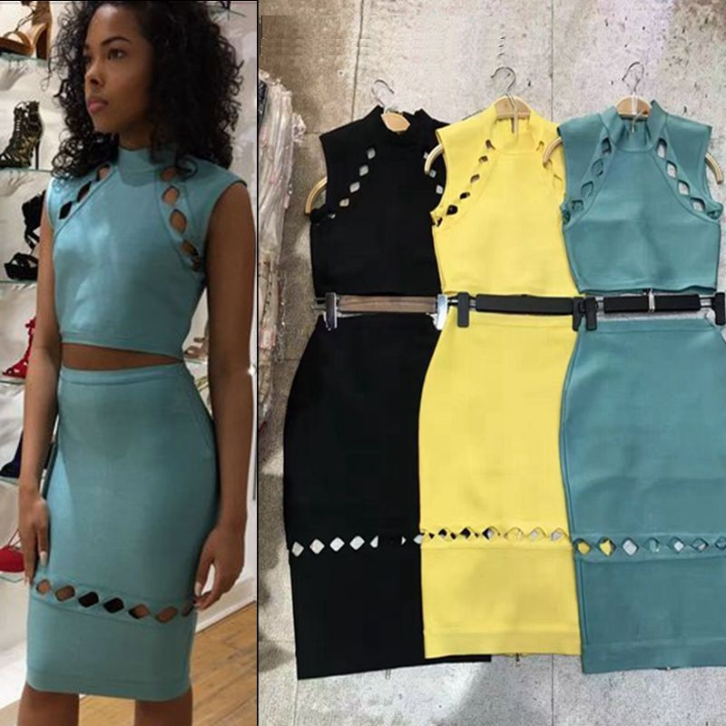 summer dress sexy women bandage dress HL cap sleeve vestido blue yellow black 2017 new two 2 piece set party dresses cocktail