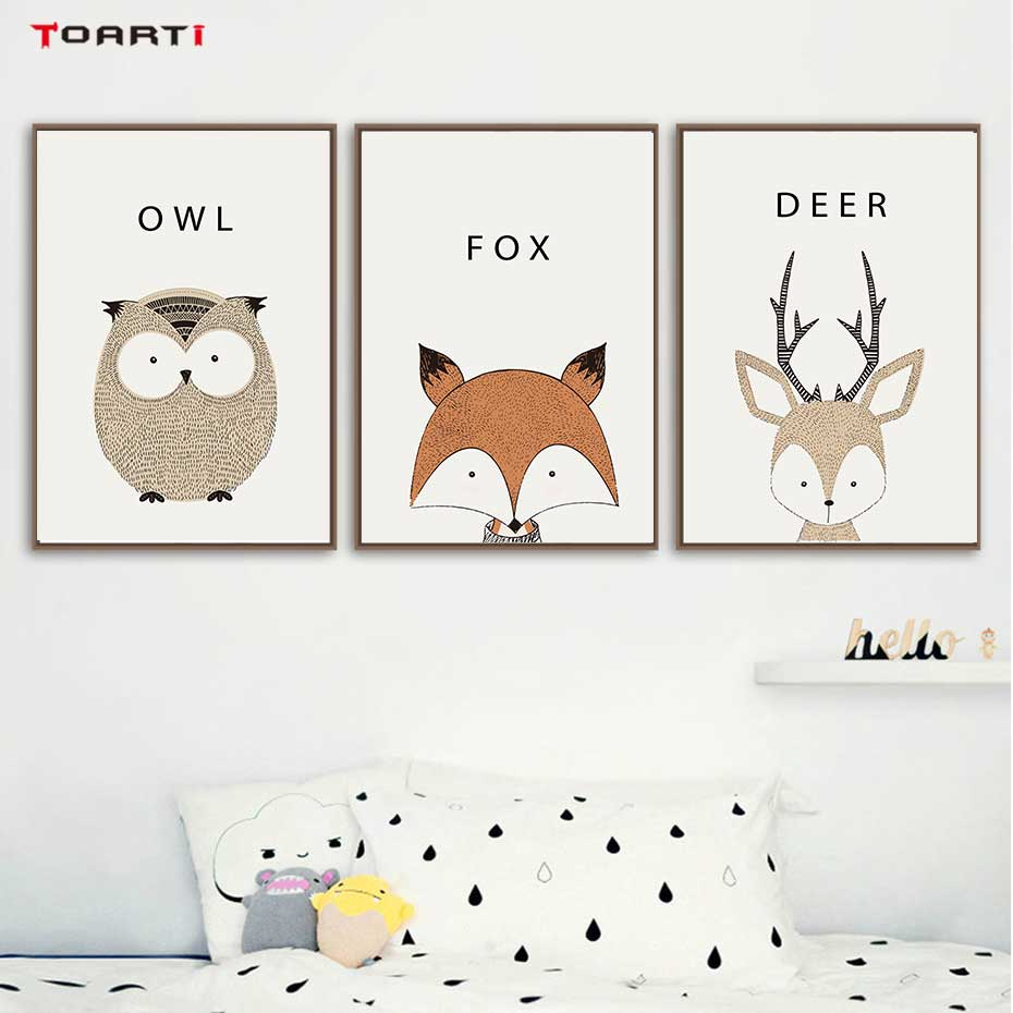 Kawaii Cartoon Animals Posters Prints Owl Fox Deer Canvas Painting For Kids Nursery Bedroom Modern Wall Art Pictures Home Decor-in Painting & Calligraphy from Home & Garden