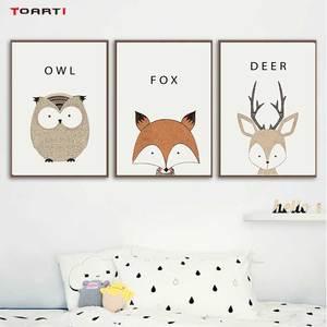 Image 1 - Kawaii Cartoon Animals Posters Prints Owl Fox Deer Canvas Painting For Kids Nursery Bedroom Modern Wall Art Pictures Home Decor