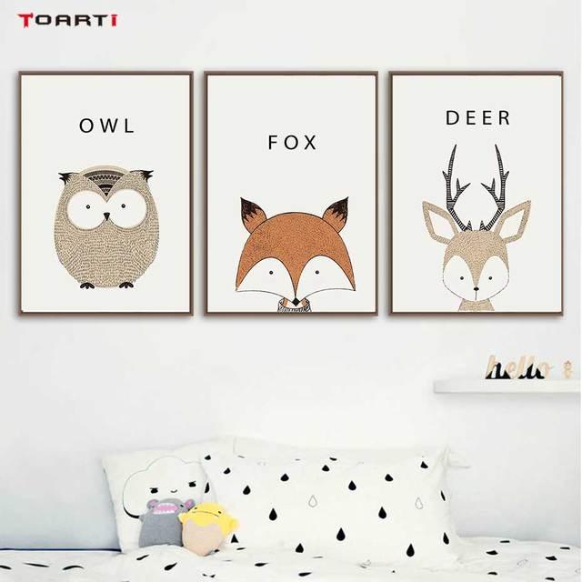 Kawaii Cartoon Animals Posters Prints Owl Fox Deer Canvas Painting For Kids Nursery Bedroom Modern Wall Art Pictures Home Decor