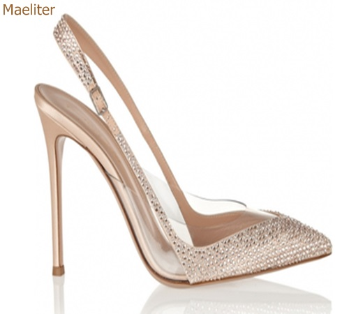 Champagne Gold Bling Bling Crystal High Heel Pumps Pointed Toe Stiletto Heels PVC Rhinestone Pactchwork Slingback Wedding ShoesChampagne Gold Bling Bling Crystal High Heel Pumps Pointed Toe Stiletto Heels PVC Rhinestone Pactchwork Slingback Wedding Shoes