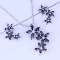 Liefde Monoloog Exquisite Mystic Crystal Ketting/Hanger/Oorbellen Bloem Cluster 925 Stempel Zilver Kleur Sets X0199
