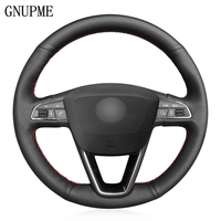 DIY Black Artificial Leather Car Steering Wheel Cover for Seat Leon 5F Mk3 2013 2019 Ibiza 6J 2016 2019 Arona 2018 2019|Steering Covers| |  -