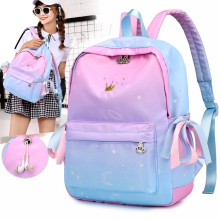 Colorful bow princess student bag Casual children orthopedic backpack Cute girl school bag Pink waterproof nylon backpack