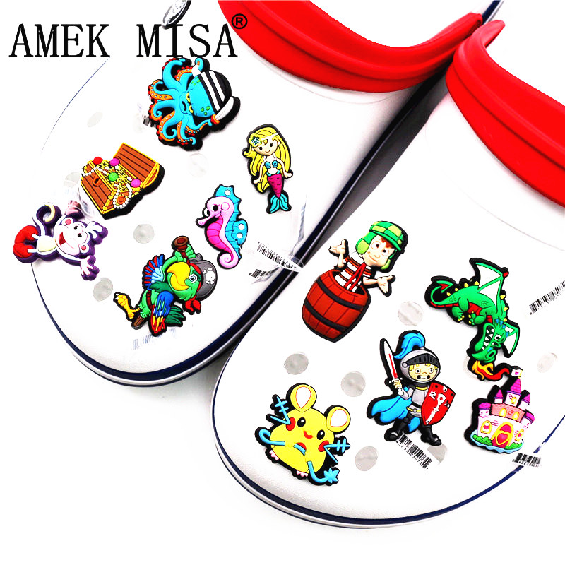 Hot Sale 1pcs Shoe Decorations Western Fairy Tale Style Shoe Charm Mermaid&knight Shoe Accessories Fit Kids Gifts Free Shipping
