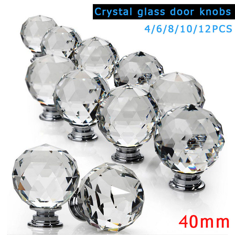 4/6/8/10/12 Pcs 40MM Door Handles With Screws Glass Clear Diamond Cut Knobs For Kitchen Drawer Cabinet Home Decoration J 5pcs knobs 30mm clear crystal glass door handles diamond drawer cabinet furniture kitchen knob with screws