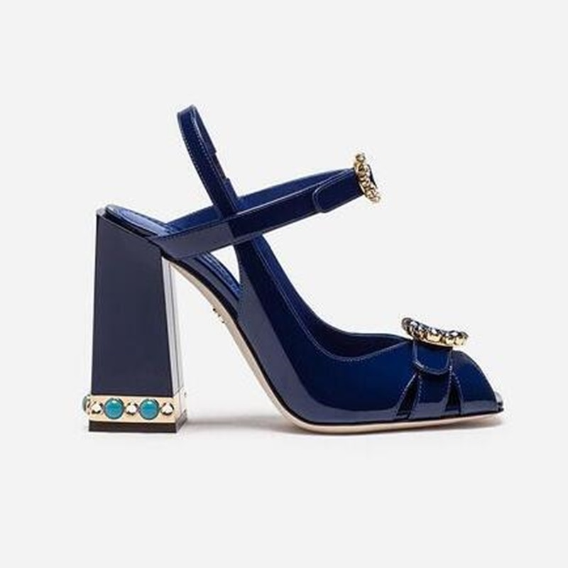 Woman peep toe chunky heel blue sandals rhinestone buckle pearls studded summer shoes lady dress wedding sandals high quality crystal chunky heel sandals women summer t word buckle sweet rhinestone heel ladies sandals peep toe med heel woman shoes