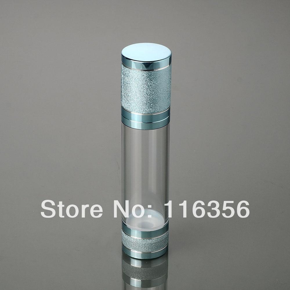 50 ml BLAU airless flasche, weiß/transparent pumpe, blau deckel