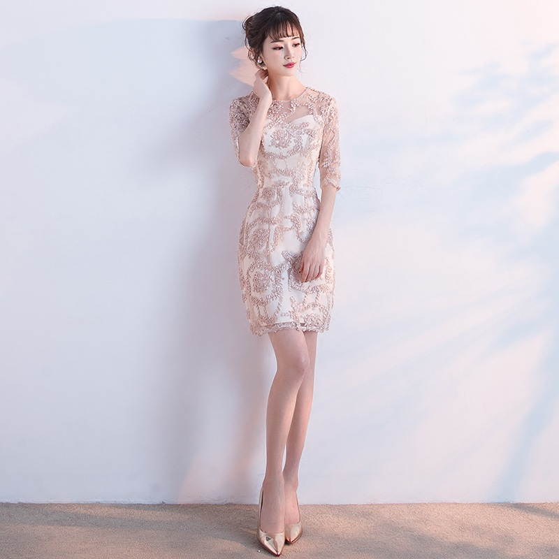 Short Sleeve Cocktail Dresses Little Appliques Khaki Party Formal Dresses Elegant Lace Illusion Knee Length Prom Ball Gowns E293