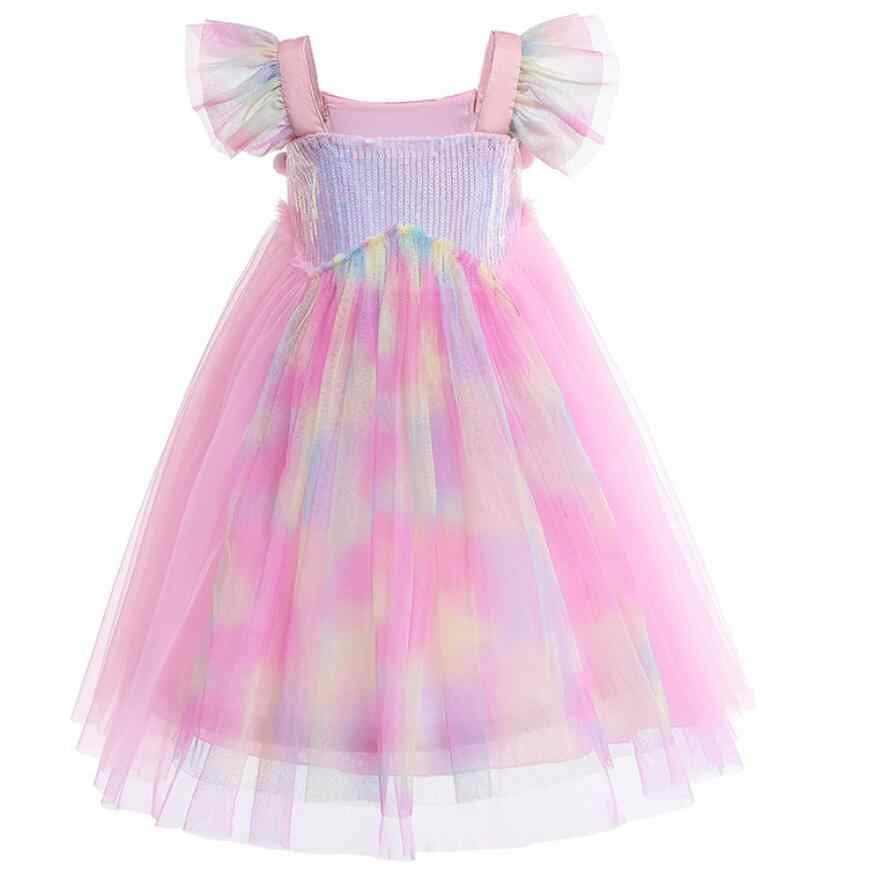 Новинка 2019 года, платье-пачка с единорогом для девочек от 3 до 10 лет с повязкой на голову, детский костюм с цветами и единорогом, день рождения Хэллоуин