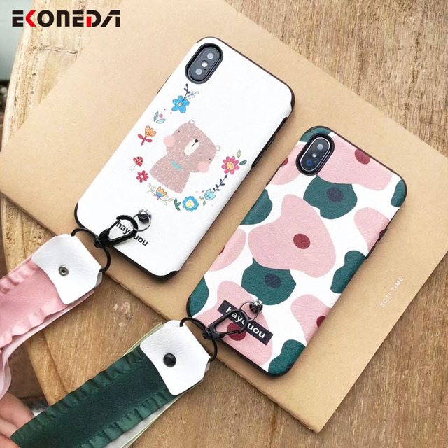 ekoneda cute girly pattern wrist strap case for iphone 8 plus 7 plus fresh silicone phone