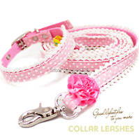 Free Shipping New Arrival Pink Camellia Lace Princess Style Dog Collar Leash Dog Chain Pet Products