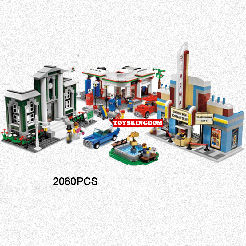 Classic city street view 50th Anniversary celebration Town building block figures cars bricks toys collection for kids gifts hot city series aviation private aircraft lepins building block crew passenger figures airplane cars bricks toys for kids gifts
