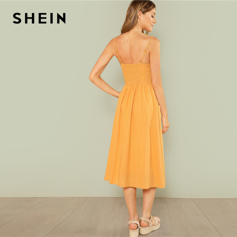 84b354f2b0 SHEIN Yellow Elegant Backless Pocket Patched Button Up Straps Cami Solid  Dress Summer Women Weekend Casual Dresses-in Dresses from Women s Clothing  on ...