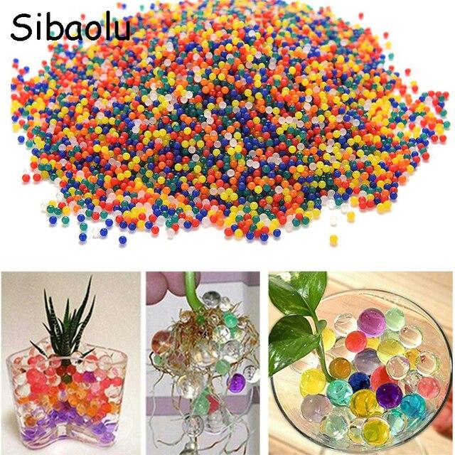 SIBAOLU 1000PCS/Set Pearl Shaped Crystal Soil Water Beads Mud Grow Magic Jelly Balls Home Decor Aqua Soil Hot Wholesales